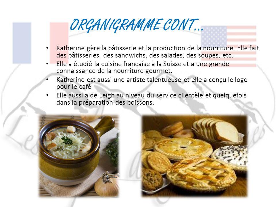 ORGANIGRAMME CONT… Katherine gère la pâtisserie et la production de la nourriture. Elle fait des pâtisseries, des sandwichs, des salades, des soupes,
