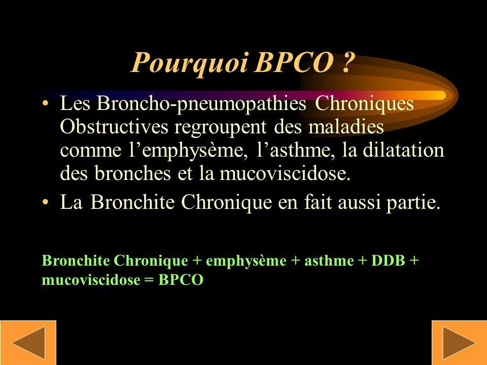 Définition Cest un syndrome obstructif caractérisé par une toux, une hypersécrétion bronchique chronique permanent ou récidivent survenant au moins tr