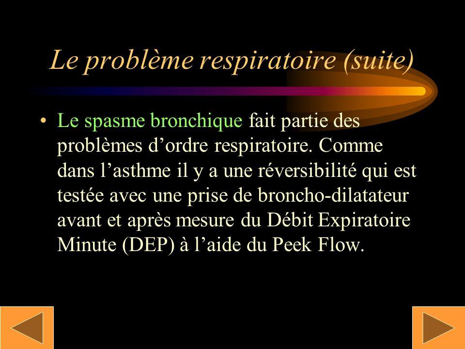 Physiopathologie Il existe DEUX problèmes : un respiratoire lautre, secondairement, cardiaque Apparition dun oedème bronchique provoquant hypersécréti