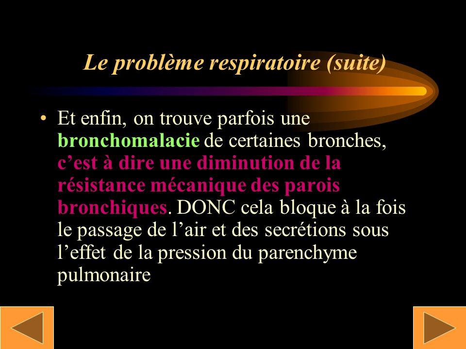 Le problème respiratoire (suite) Une destruction du tapis ciliaire est aussi constatée. Il peut être aussi paralysé sous laction du tabac… Et oui !!
