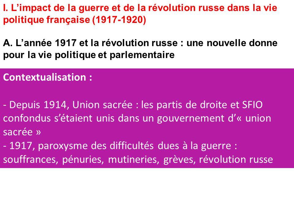 I.Limpact de la guerre et de la révolution russe dans la vie politique française (1917-1920) A.