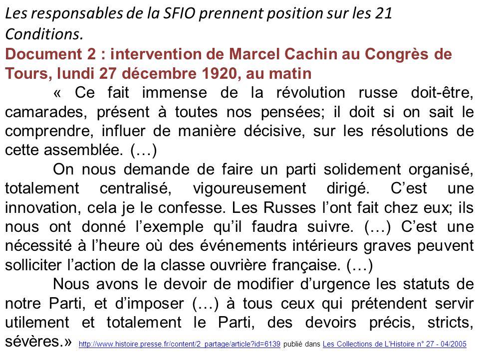Les responsables de la SFIO prennent position sur les 21 Conditions.