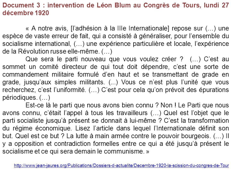 Document 3 : intervention de Léon Blum au Congrès de Tours, lundi 27 décembre 1920 « A notre avis, [ladhésion à la IIIe Internationale] repose sur (…)