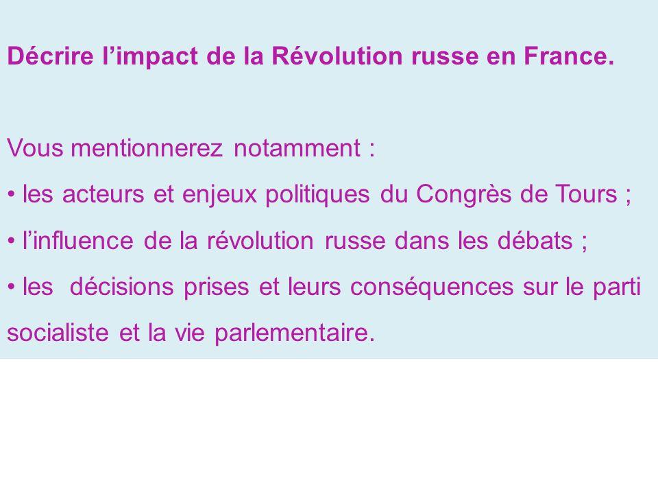 Décrire limpact de la Révolution russe en France.