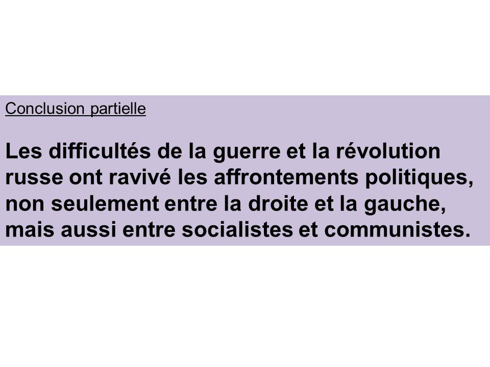 Conclusion partielle Les difficultés de la guerre et la révolution russe ont ravivé les affrontements politiques, non seulement entre la droite et la gauche, mais aussi entre socialistes et communistes.