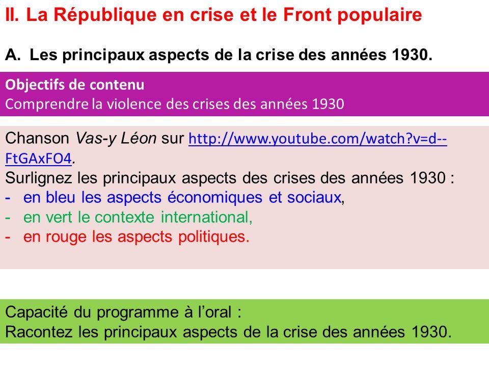 II. La République en crise et le Front populaire A.Les principaux aspects de la crise des années 1930. Chanson Vas-y Léon sur http://www.youtube.com/w