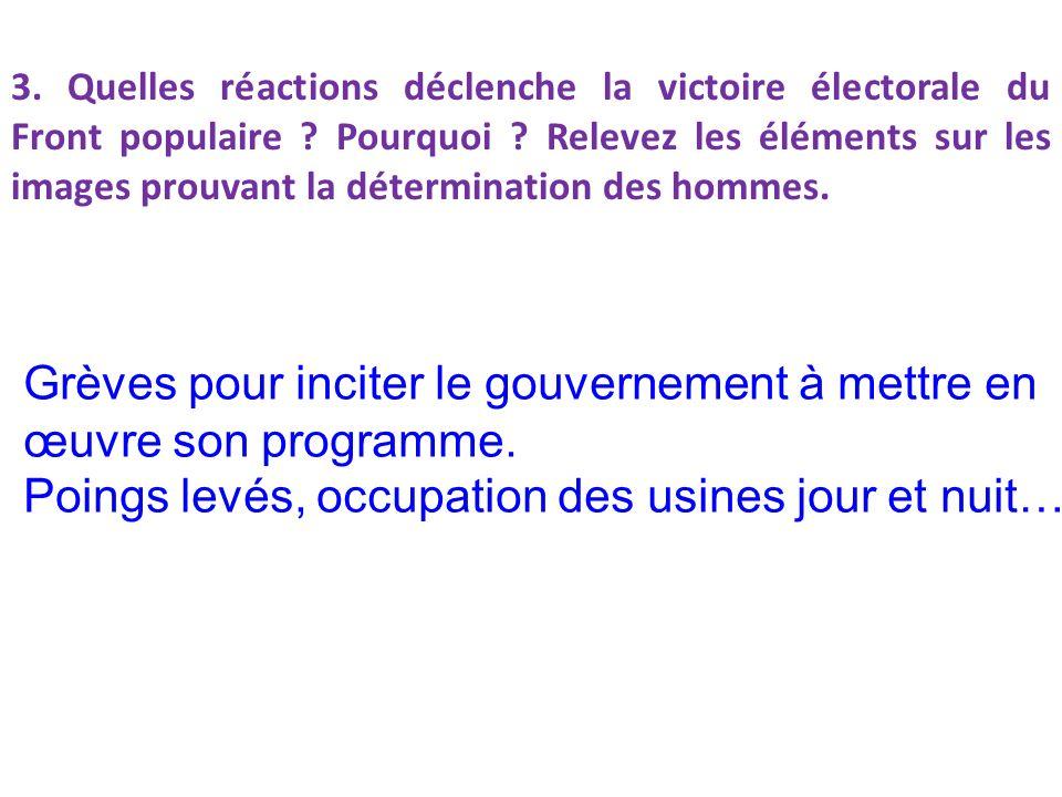 3.Quelles réactions déclenche la victoire électorale du Front populaire .
