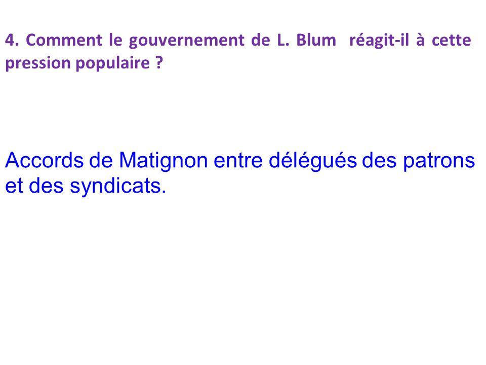 4.Comment le gouvernement de L. Blum réagit-il à cette pression populaire .