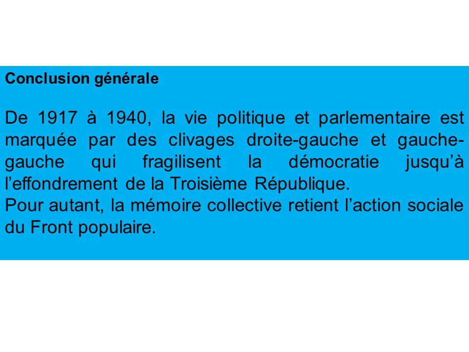 Conclusion générale De 1917 à 1940, la vie politique et parlementaire est marquée par des clivages droite-gauche et gauche- gauche qui fragilisent la démocratie jusquà leffondrement de la Troisième République.
