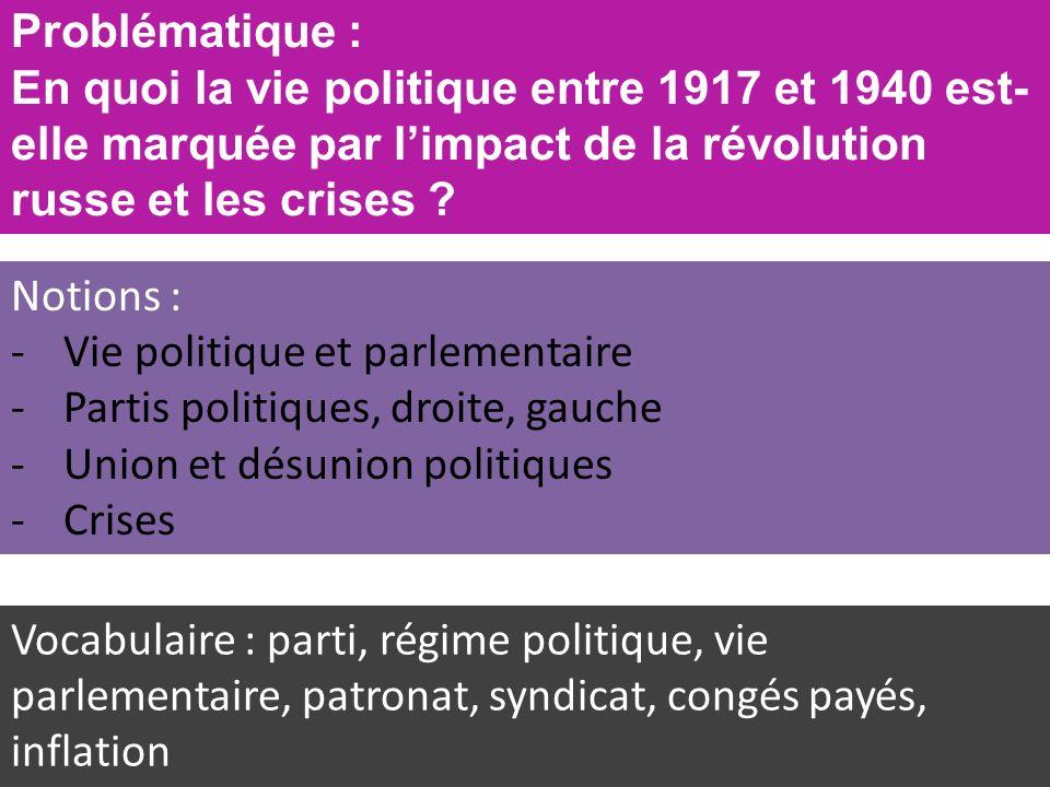 Problématique : En quoi la vie politique entre 1917 et 1940 est- elle marquée par limpact de la révolution russe et les crises .