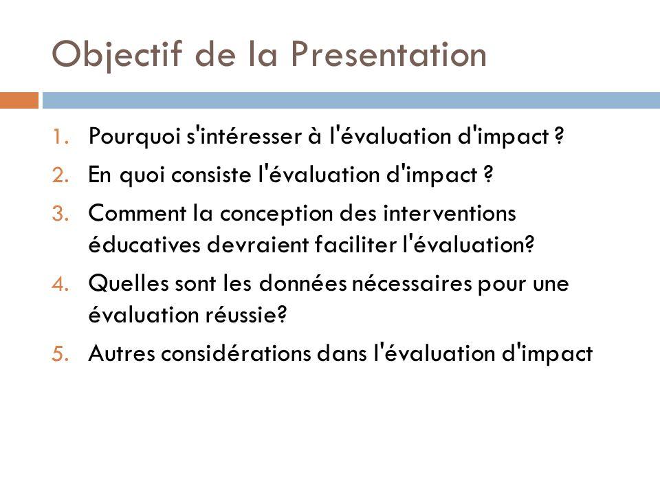 Objectif de la Presentation 1. Pourquoi s intéresser à l évaluation d impact .