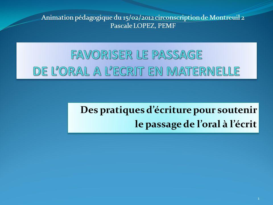 Des pratiques décriture pour soutenir le passage de loral à lécrit Des pratiques décriture pour soutenir le passage de loral à lécrit 1 Animation péda
