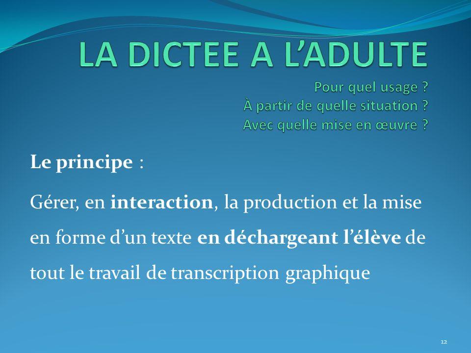 Le principe : Gérer, en interaction, la production et la mise en forme dun texte en déchargeant lélève de tout le travail de transcription graphique 1