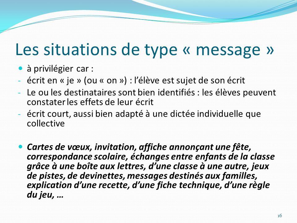 Les situations de type « message » à privilégier car : - écrit en « je » (ou « on ») : lélève est sujet de son écrit - Le ou les destinataires sont bi