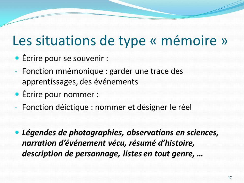 Les situations de type « mémoire » Écrire pour se souvenir : - Fonction mnémonique : garder une trace des apprentissages, des événements Écrire pour n