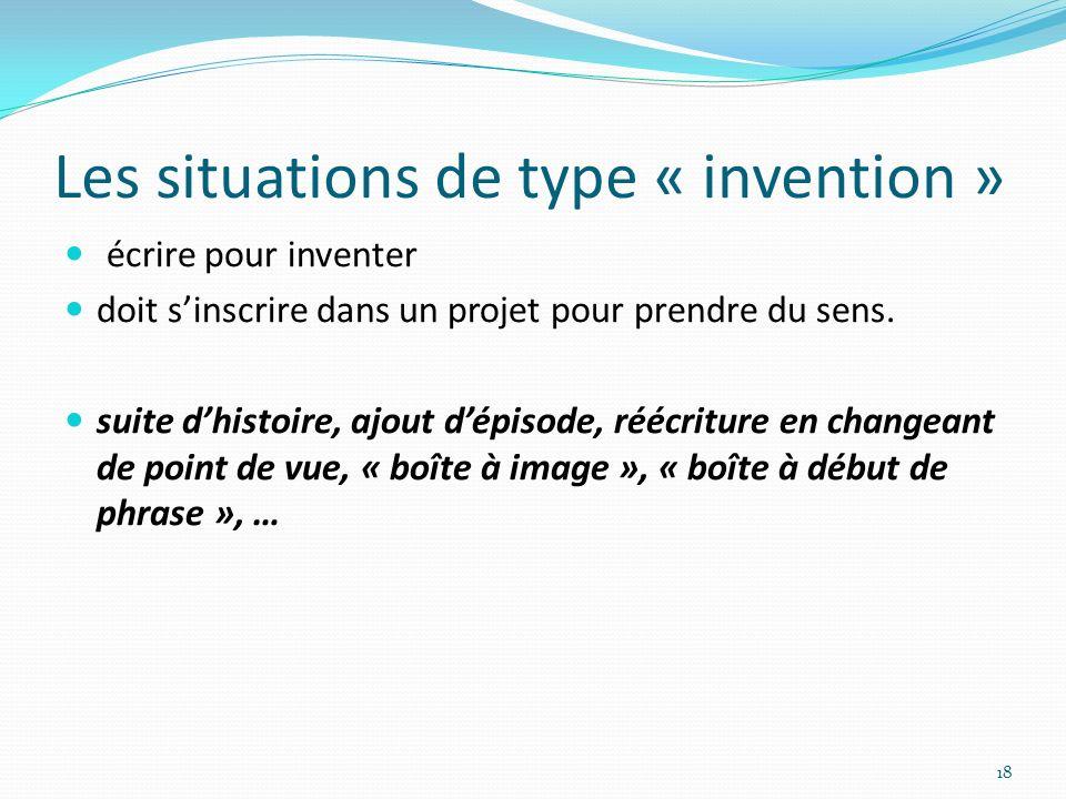 Les situations de type « invention » écrire pour inventer doit sinscrire dans un projet pour prendre du sens. suite dhistoire, ajout dépisode, réécrit