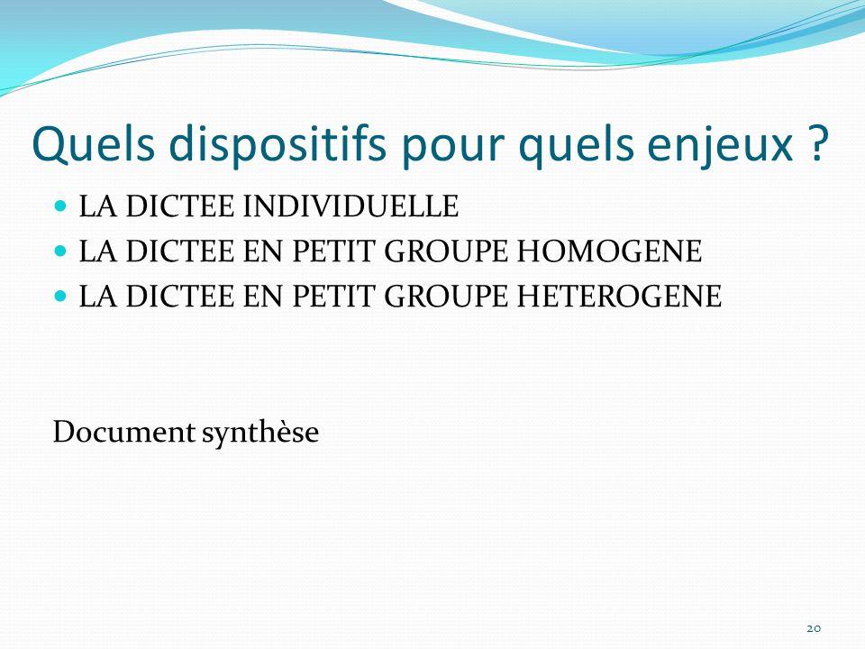 Quels dispositifs pour quels enjeux ? LA DICTEE INDIVIDUELLE LA DICTEE EN PETIT GROUPE HOMOGENE LA DICTEE EN PETIT GROUPE HETEROGENE Document synthèse
