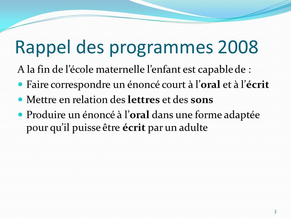 Rappel des programmes 2008 A la fin de lécole maternelle lenfant est capable de : Faire correspondre un énoncé court à loral et à lécrit Mettre en rel