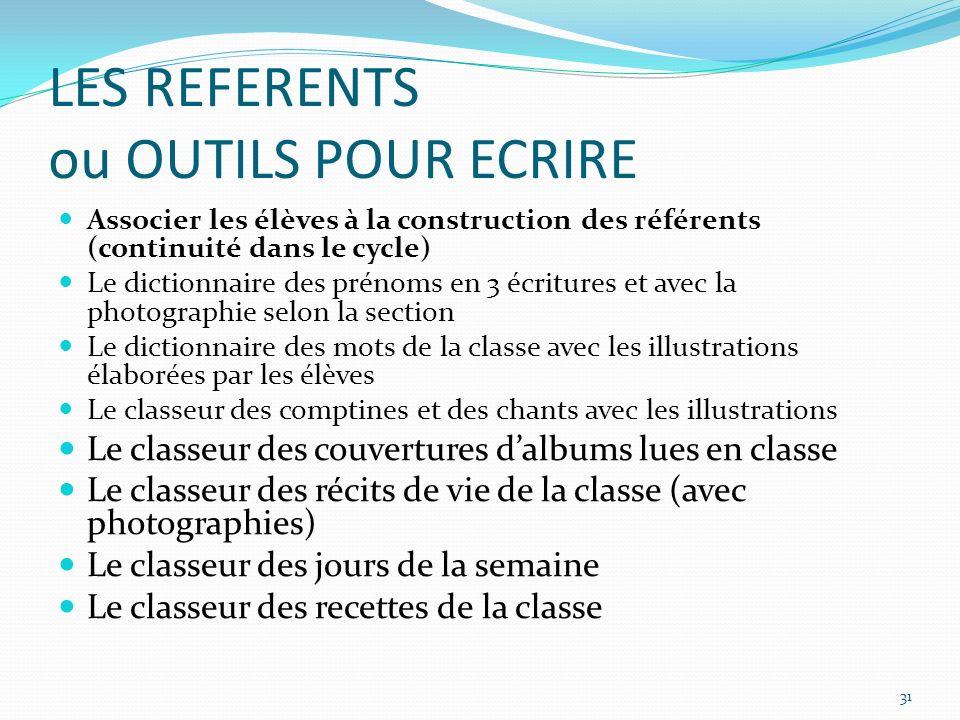 LES REFERENTS ou OUTILS POUR ECRIRE Associer les élèves à la construction des référents (continuité dans le cycle) Le dictionnaire des prénoms en 3 éc