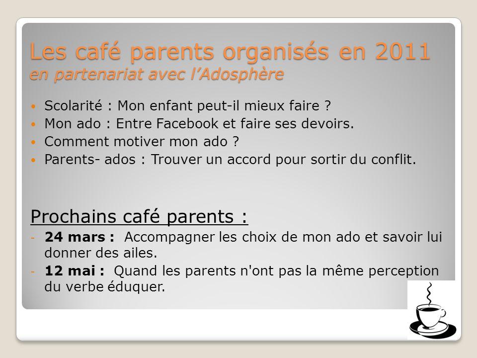 Les café parents organisés en 2011 en partenariat avec lAdosphère Scolarité : Mon enfant peut-il mieux faire .