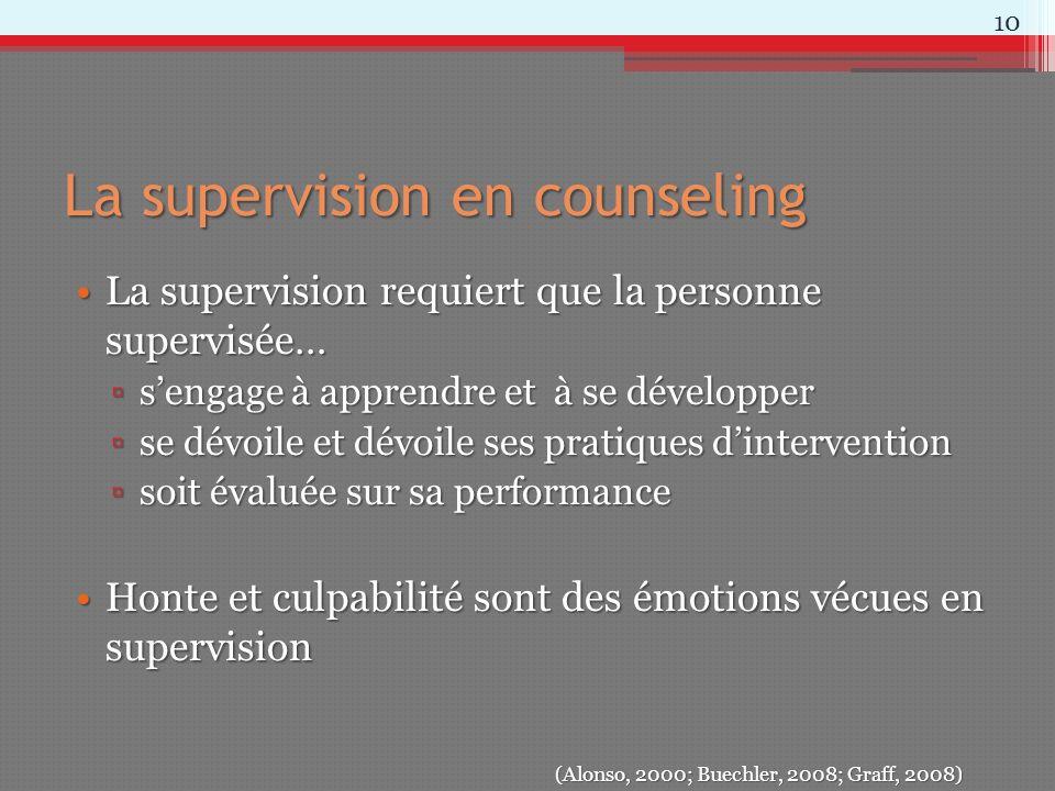 La supervision en counseling La supervision requiert que la personne supervisée…La supervision requiert que la personne supervisée… sengage à apprendr