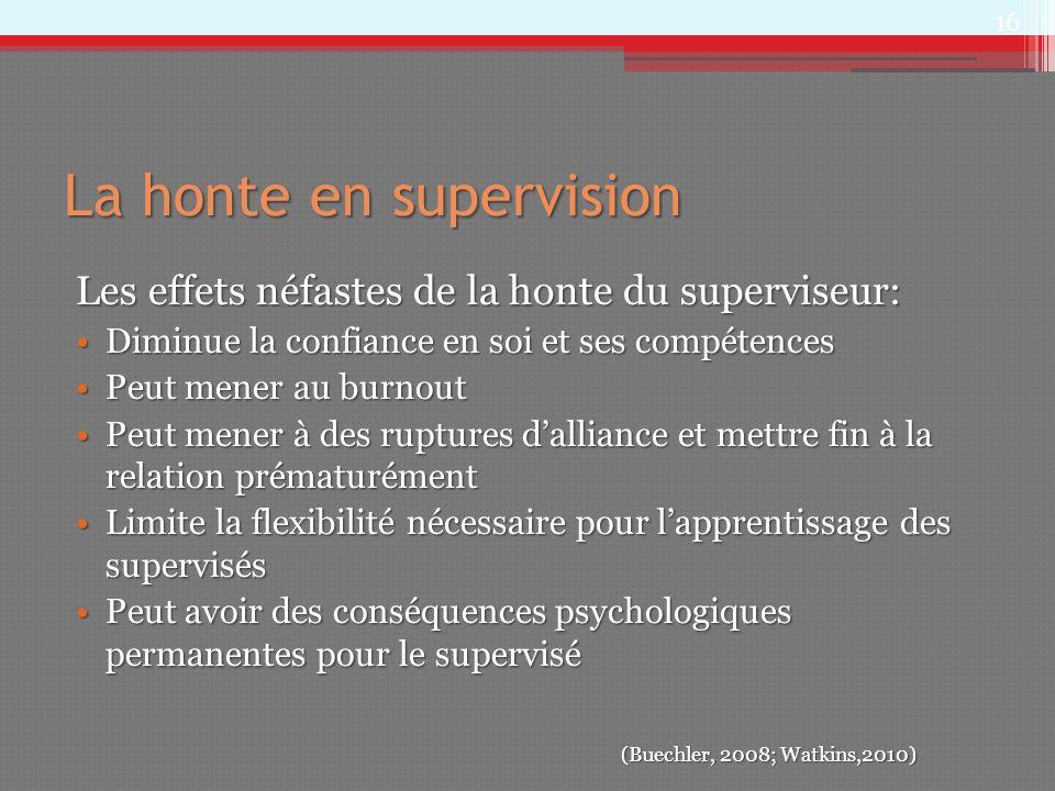 La honte en supervision Les effets néfastes de la honte du superviseur: Diminue la confiance en soi et ses compétencesDiminue la confiance en soi et s