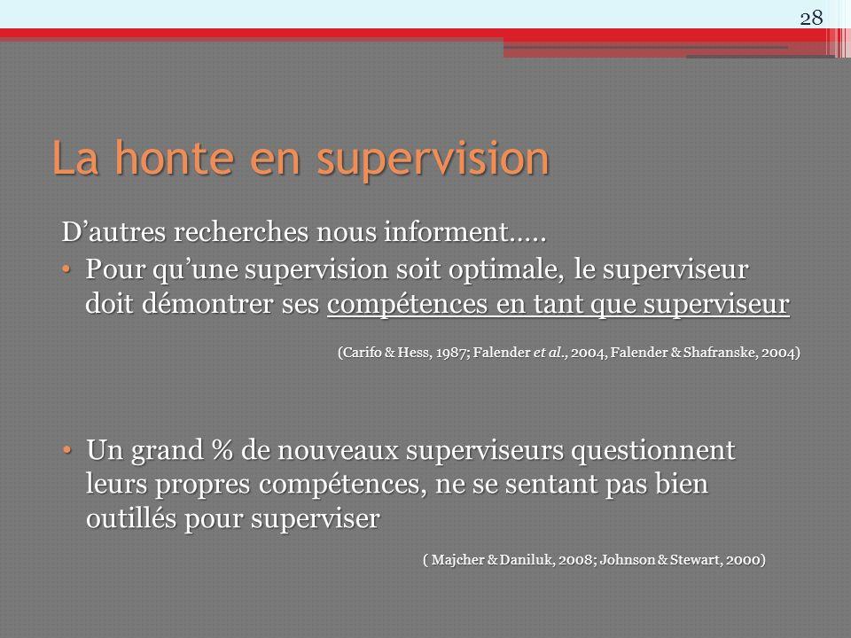 La honte en supervision Dautres recherches nous informent….. Pour quune supervision soit optimale, le superviseur doit démontrer ses compétences en ta