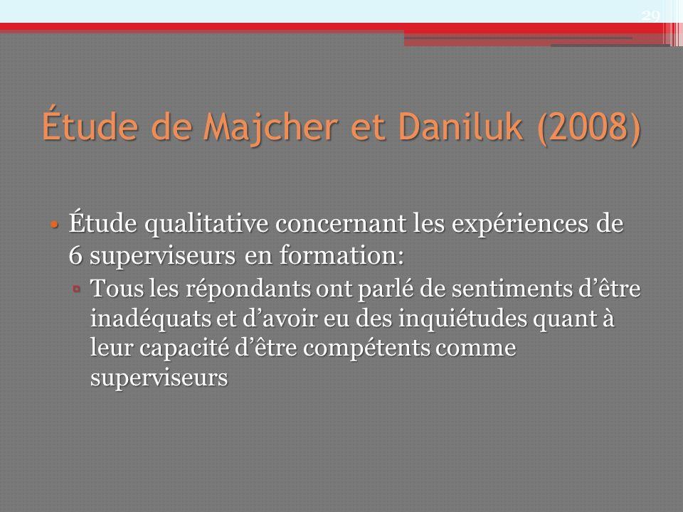 Étude de Majcher et Daniluk (2008) Étude qualitative concernant les expériences de 6 superviseurs en formation:Étude qualitative concernant les expéri