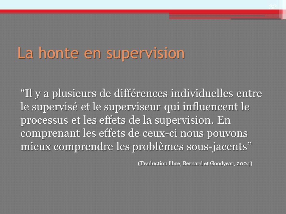 La honte en supervision Il y a plusieurs de différences individuelles entre le supervisé et le superviseur qui influencent le processus et les effets