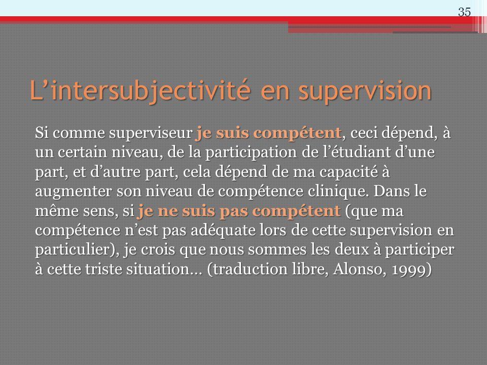 Lintersubjectivité en supervision Si comme superviseur je suis compétent, ceci dépend, à un certain niveau, de la participation de létudiant dune part