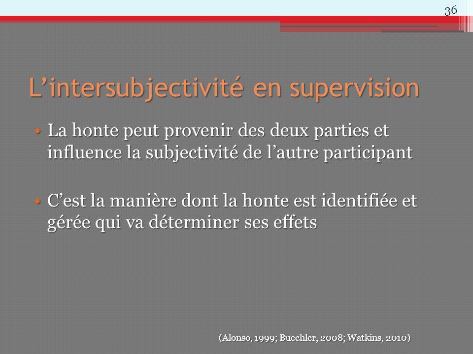 Lintersubjectivité en supervision La honte peut provenir des deux parties et influence la subjectivité de lautre participantLa honte peut provenir des