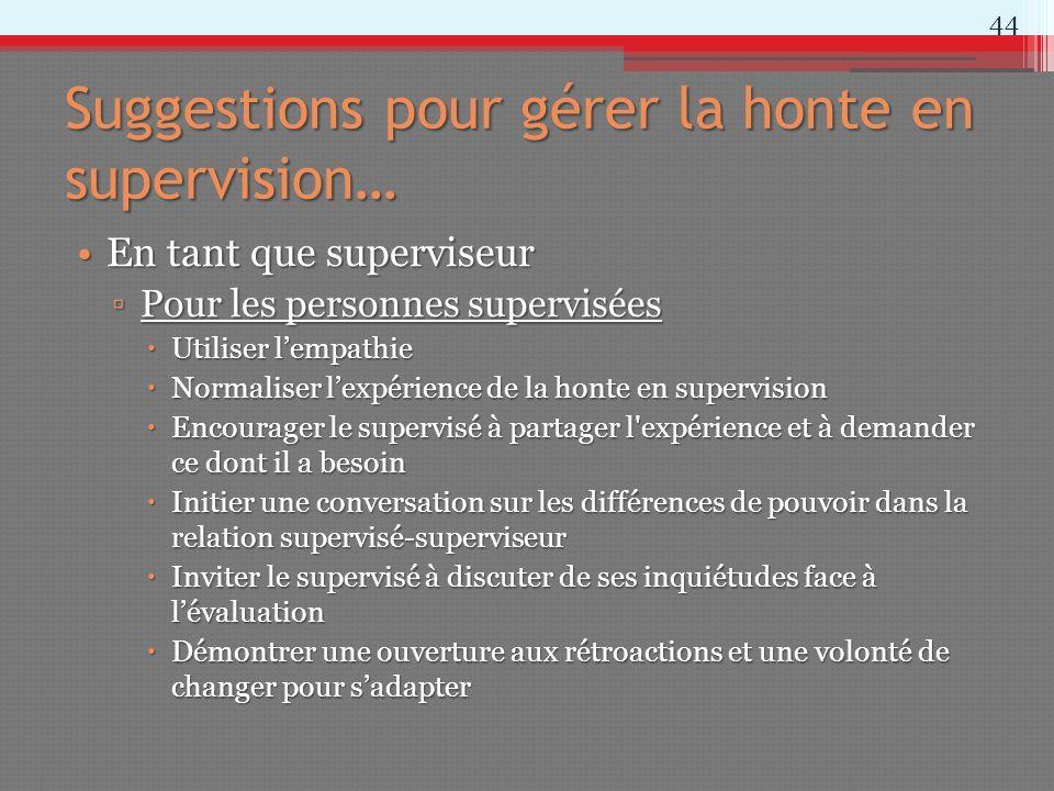 Suggestions pour gérer la honte en supervision… En tant que superviseurEn tant que superviseur Pour les personnes superviséesPour les personnes superv