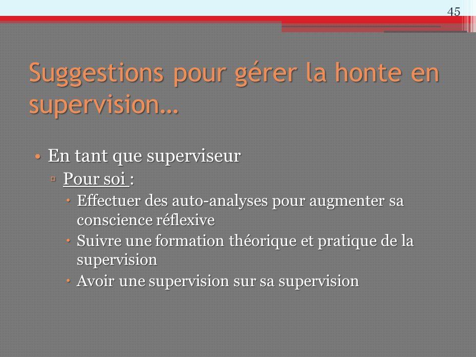Suggestions pour gérer la honte en supervision… En tant que superviseurEn tant que superviseur Pour soi :Pour soi : Effectuer des auto-analyses pour a