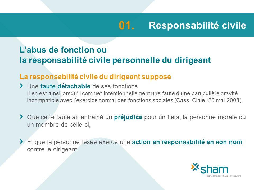 Responsabilité civile Labus de fonction ou la responsabilité civile personnelle du dirigeant 01. La responsabilité civile du dirigeant suppose Une fau