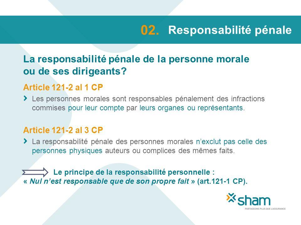 Responsabilité pénale La responsabilité pénale de la personne morale ou de ses dirigeants? 02. Article 121-2 al 1 CP Les personnes morales sont respon