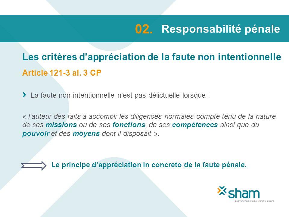 Responsabilité pénale Les critères dappréciation de la faute non intentionnelle 02. Article 121-3 al. 3 CP La faute non intentionnelle nest pas délict