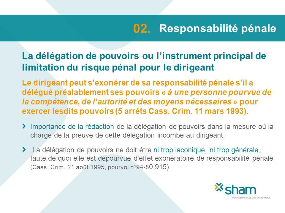 Responsabilité pénale La délégation de pouvoirs ou linstrument principal de limitation du risque pénal pour le dirigeant 02. Le dirigeant peut sexonér