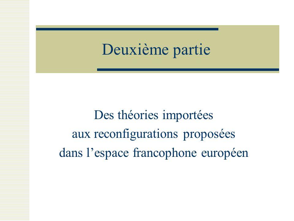 Deuxième partie Des théories importées aux reconfigurations proposées dans lespace francophone européen