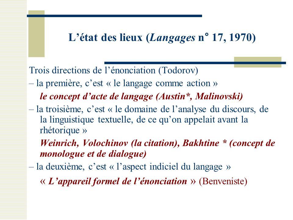 Létat des lieux (Langages n° 17, 1970) Trois directions de lénonciation (Todorov) – la première, cest « le langage comme action » le concept dacte de langage (Austin*, Malinovski) – la troisième, cest « le domaine de lanalyse du discours, de la linguistique textuelle, de ce quon appelait avant la rhétorique » Weinrich, Volochinov (la citation), Bakhtine * (concept de monologue et de dialogue) – la deuxième, cest « laspect indiciel du langage » « Lappareil formel de lénonciation » (Benveniste)