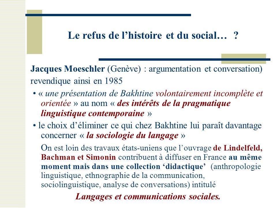Le refus de lhistoire et du social… .