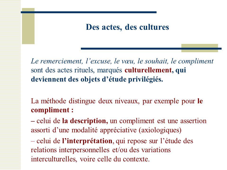 Des actes, des cultures Le remerciement, lexcuse, le vœu, le souhait, le compliment sont des actes rituels, marqués culturellement, qui deviennent des objets détude privilégiés.