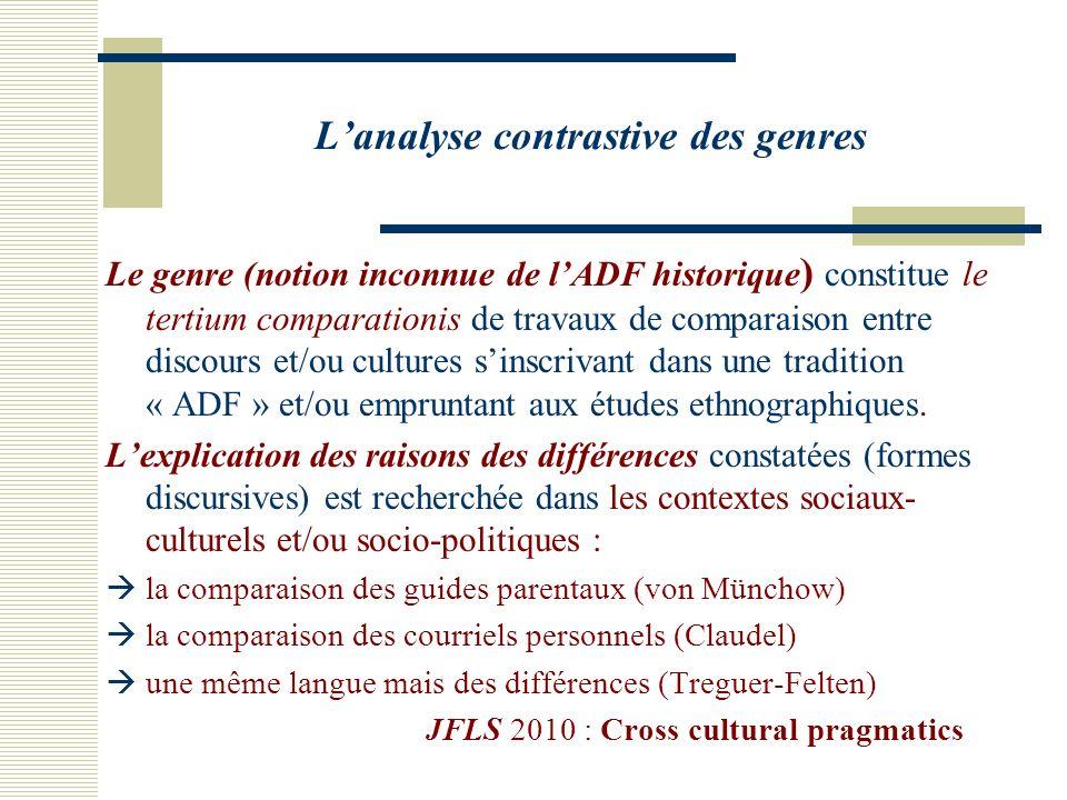 Lanalyse contrastive des genres Le genre (notion inconnue de lADF historique ) constitue le tertium comparationis de travaux de comparaison entre discours et/ou cultures sinscrivant dans une tradition « ADF » et/ou empruntant aux études ethnographiques.