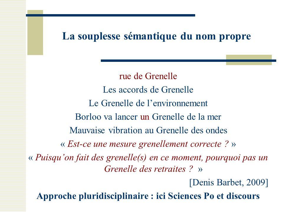 La souplesse sémantique du nom propre rue de Grenelle Les accords de Grenelle Le Grenelle de lenvironnement Borloo va lancer un Grenelle de la mer Mauvaise vibration au Grenelle des ondes « Est-ce une mesure grenellement correcte .