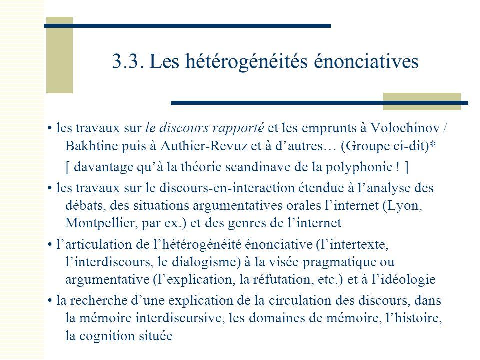 3.3. Les hétérogénéités énonciatives les travaux sur le discours rapporté et les emprunts à Volochinov / Bakhtine puis à Authier-Revuz et à dautres… (