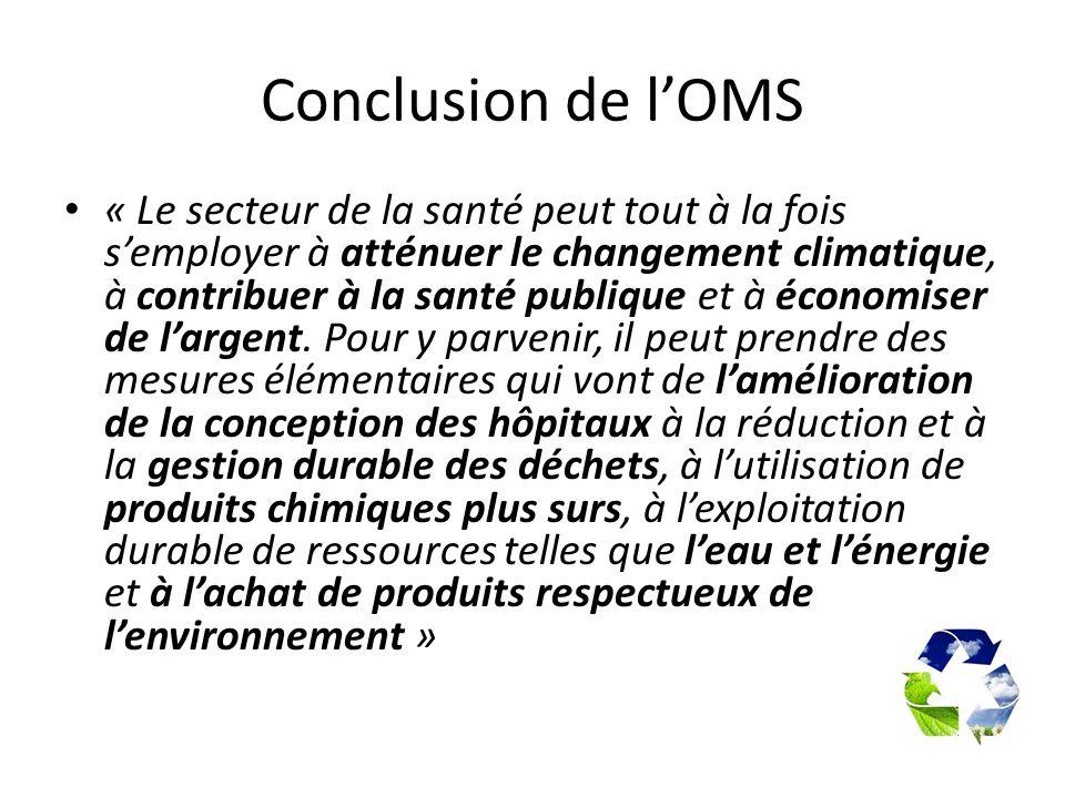 Conclusion de lOMS « Le secteur de la santé peut tout à la fois semployer à atténuer le changement climatique, à contribuer à la santé publique et à é