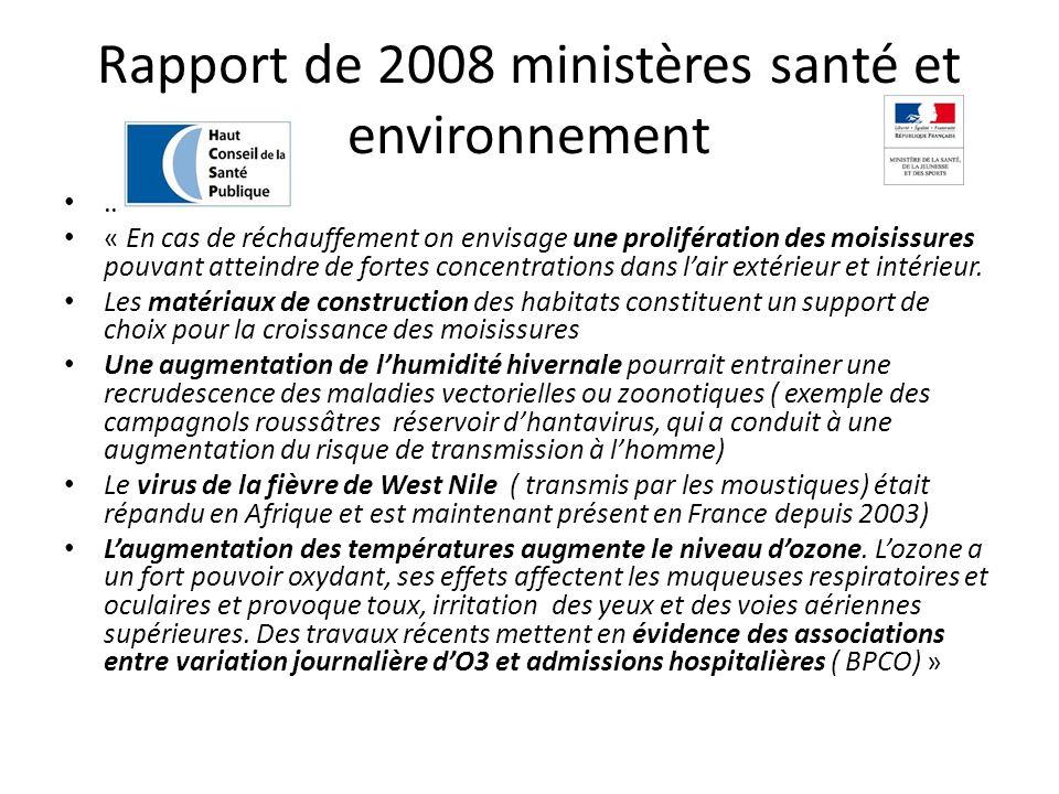 Rapport de 2008 ministères santé et environnement … « En cas de réchauffement on envisage une prolifération des moisissures pouvant atteindre de forte