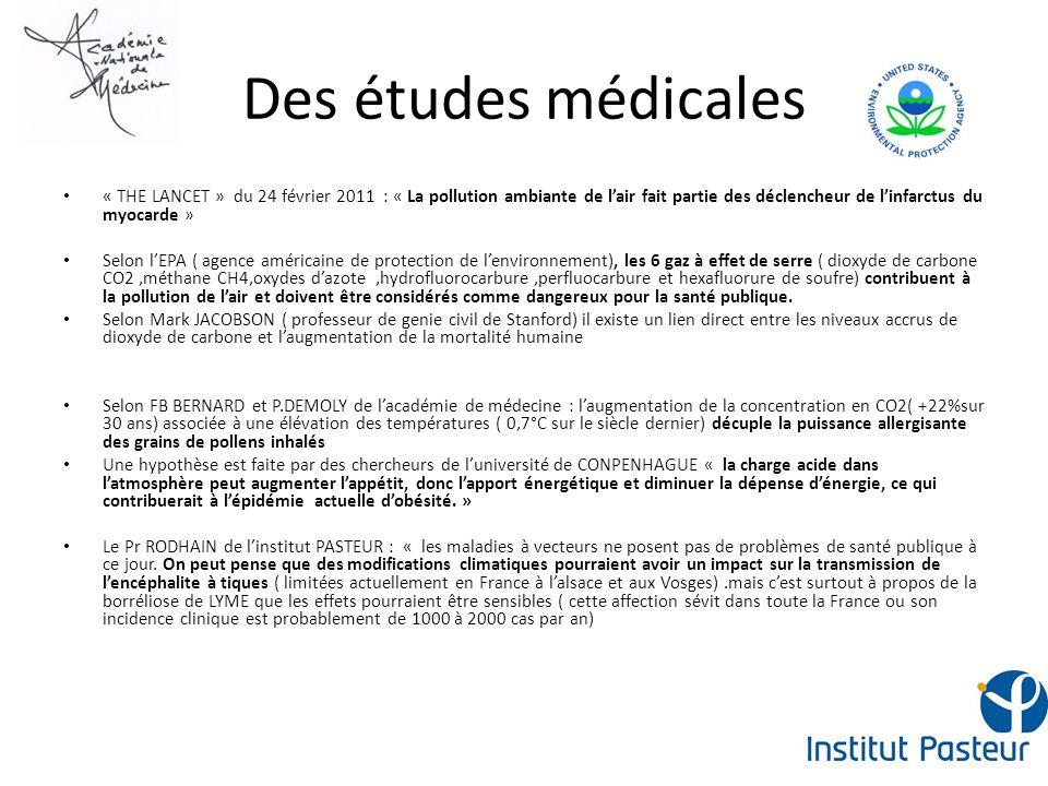Des études médicales « THE LANCET » du 24 février 2011 : « La pollution ambiante de lair fait partie des déclencheur de linfarctus du myocarde » Selon