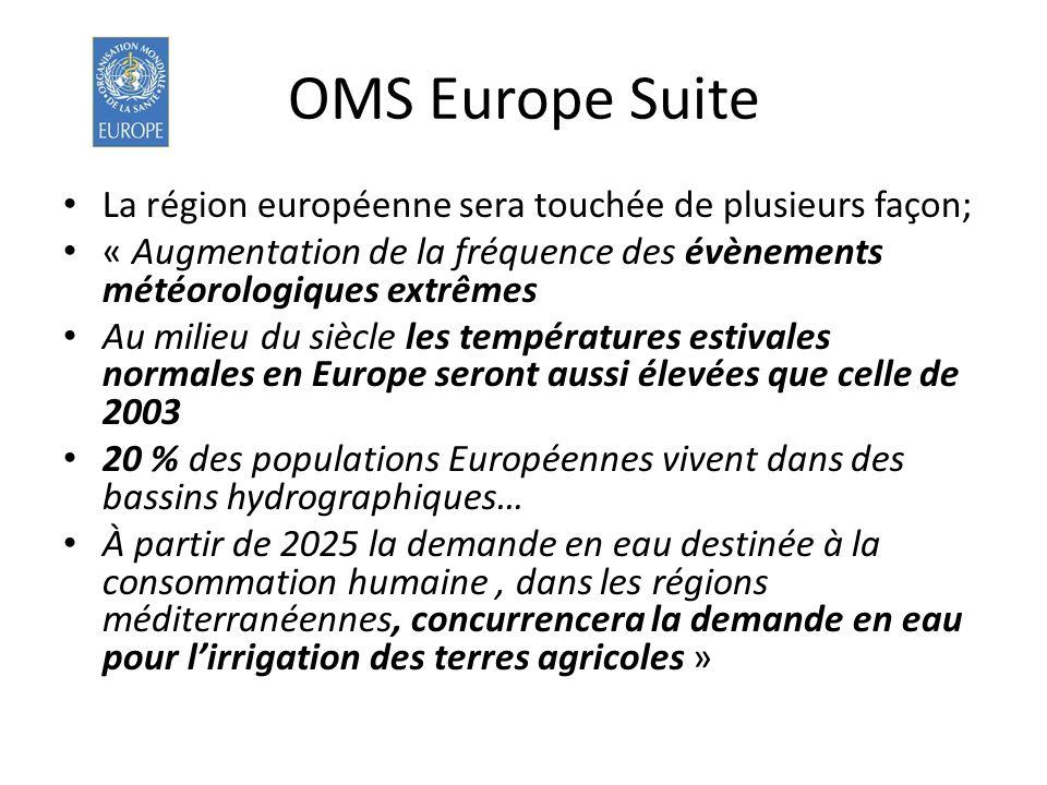 OMS Europe Suite La région européenne sera touchée de plusieurs façon; « Augmentation de la fréquence des évènements météorologiques extrêmes Au milie