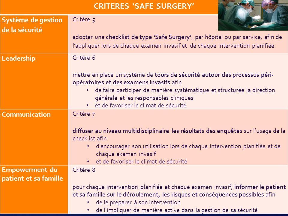 17 CRITERES SAFE SURGERY Système de gestion de la sécurité Critère 5 adopter une checklist de type Safe Surgery, par hôpital ou par service, afin de l