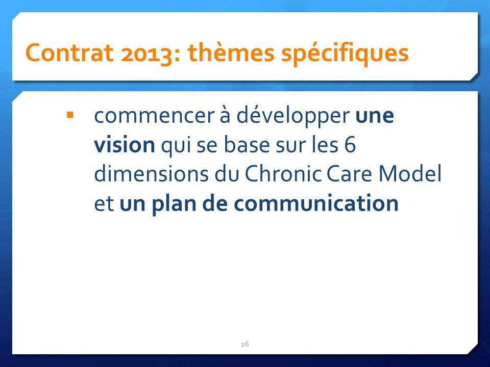 Contrat 2013: thèmes spécifiques 26 commencer à développer une vision qui se base sur les 6 dimensions du Chronic Care Model et un plan de communicati